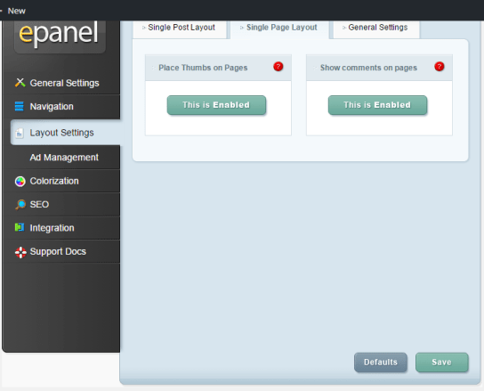 DailyJournal - ePanel - Layout settings - Single page layout